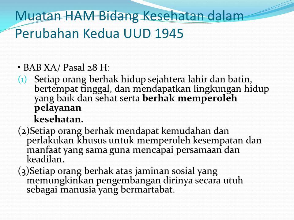 Muatan HAM Bidang Kesehatan dalam Perubahan Kedua UUD 1945 BAB XA/ Pasal 28 H: (1) Setiap orang berhak hidup sejahtera lahir dan batin, bertempat ting