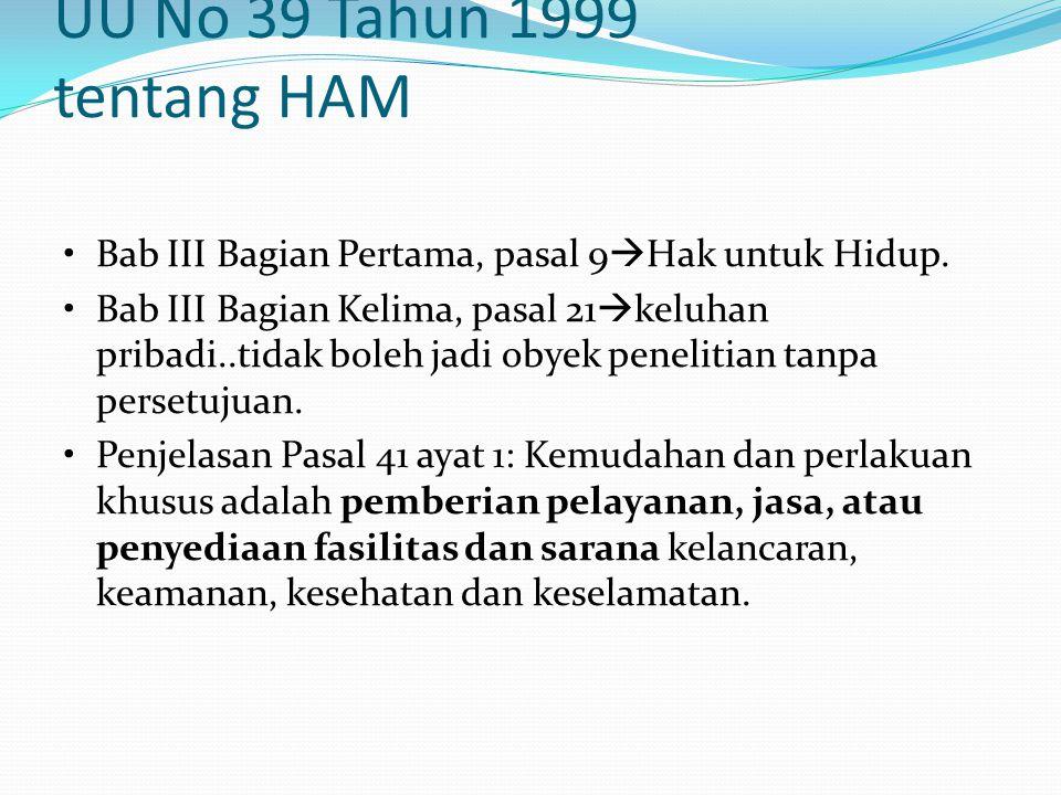 UU No 39 Tahun 1999 tentang HAM Bab III Bagian Pertama, pasal 9  Hak untuk Hidup. Bab III Bagian Kelima, pasal 21  keluhan pribadi..tidak boleh jadi