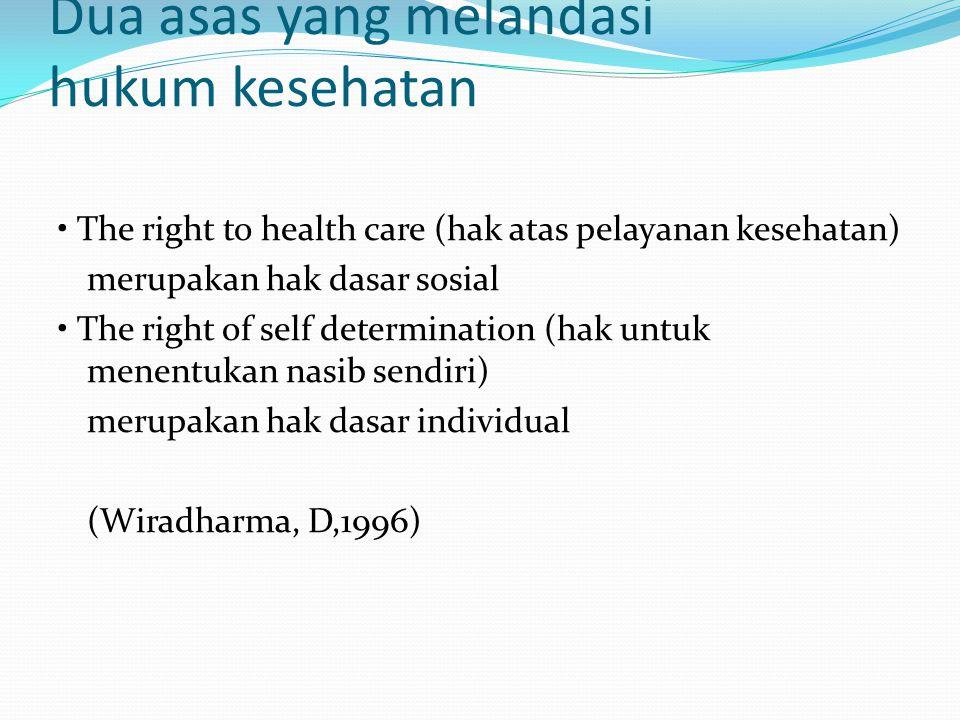 Dua asas yang melandasi hukum kesehatan The right to health care (hak atas pelayanan kesehatan) merupakan hak dasar sosial The right of self determina