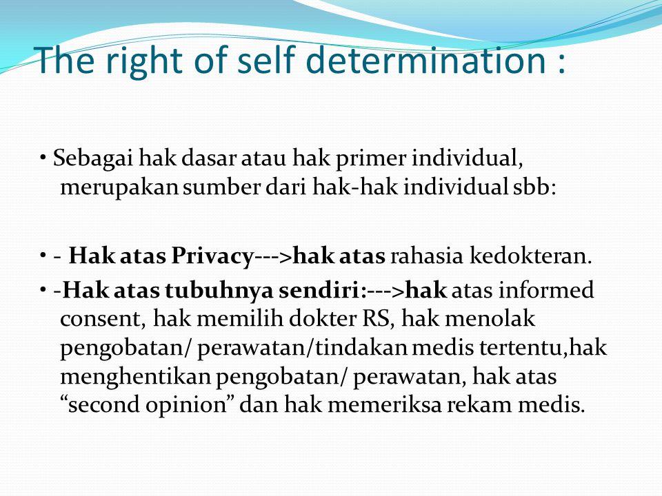 The right of self determination : Sebagai hak dasar atau hak primer individual, merupakan sumber dari hak-hak individual sbb: - Hak atas Privacy--->ha