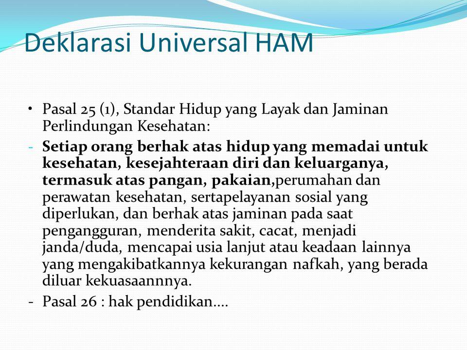Deklarasi Universal HAM Pasal 25 (1), Standar Hidup yang Layak dan Jaminan Perlindungan Kesehatan: - Setiap orang berhak atas hidup yang memadai untuk