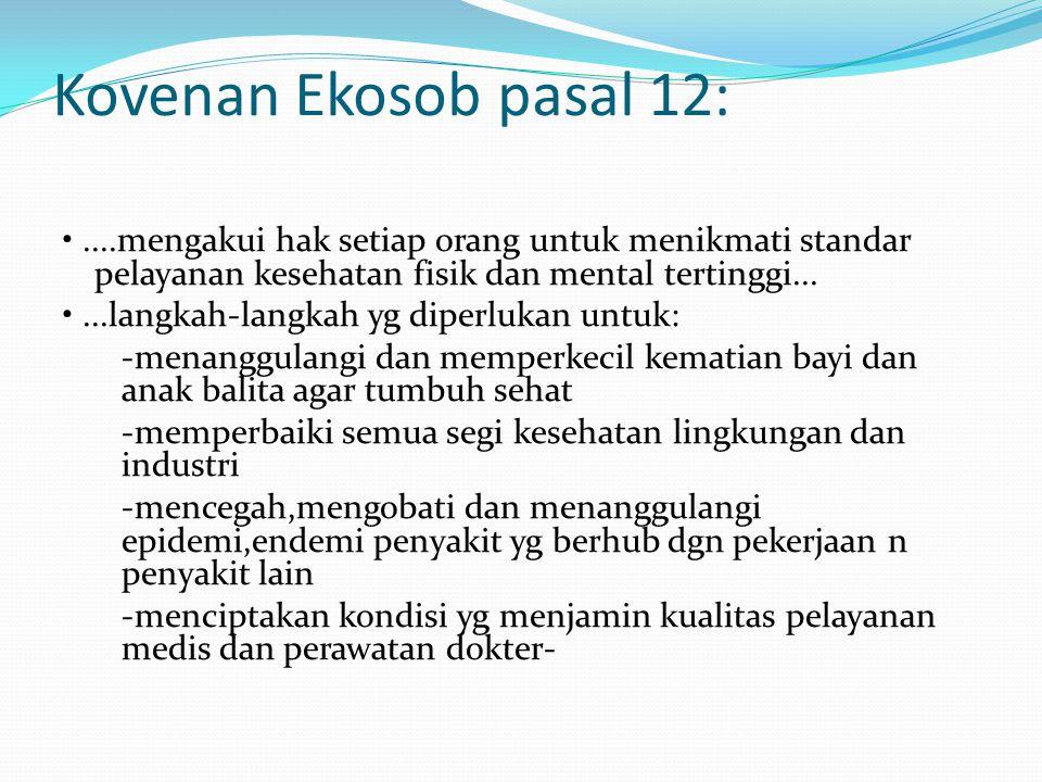 Kovenan Ekosob pasal 12:....mengakui hak setiap orang untuk menikmati standar pelayanan kesehatan fisik dan mental tertinggi......langkah-langkah yg d