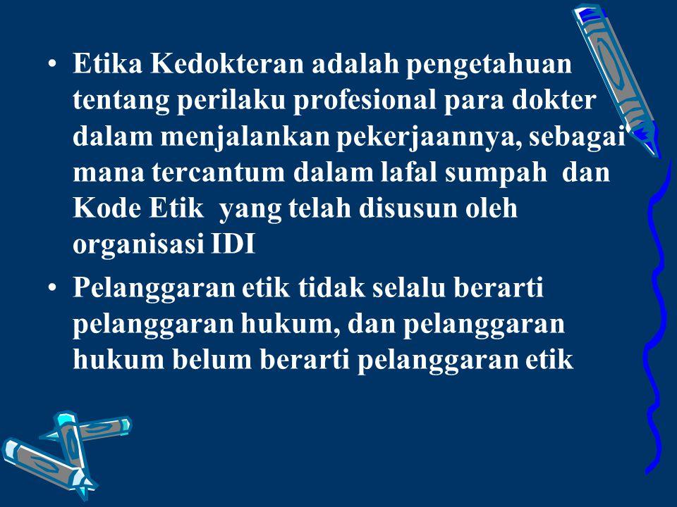 Beda Etik & Hukum ========================== Berlaku untuk profesi Berlaku untuk profesi Disusun berdasarkan kesepakatan anggota profesi Disusun berdasarkan kesepakatan anggota profesi Etik bisa tertulis dan tidak tertulis Etik bisa tertulis dan tidak tertulis Sanksi etik berupa tuntunan Sanksi etik berupa tuntunan Berlaku untuk umum Disusun oleh badan pemerintah yang berkuasa Hukum tersusun rinci dalam UU dan lembaran negara Sanksi hukum berupa tuntutan