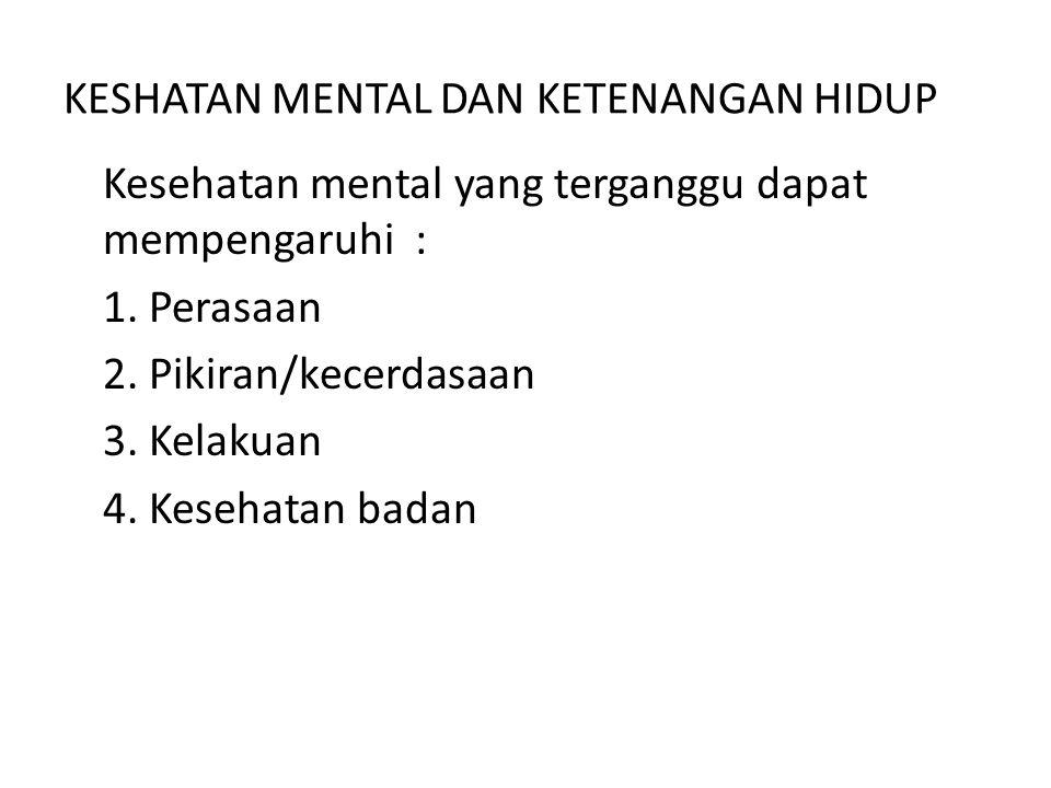 KESHATAN MENTAL DAN KETENANGAN HIDUP Kesehatan mental yang terganggu dapat mempengaruhi : 1. Perasaan 2. Pikiran/kecerdasaan 3. Kelakuan 4. Kesehatan