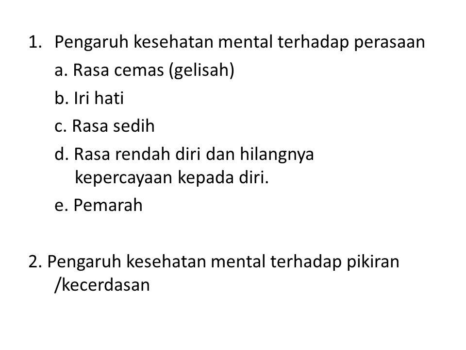 1.Pengaruh kesehatan mental terhadap perasaan a. Rasa cemas (gelisah) b. Iri hati c. Rasa sedih d. Rasa rendah diri dan hilangnya kepercayaan kepada d