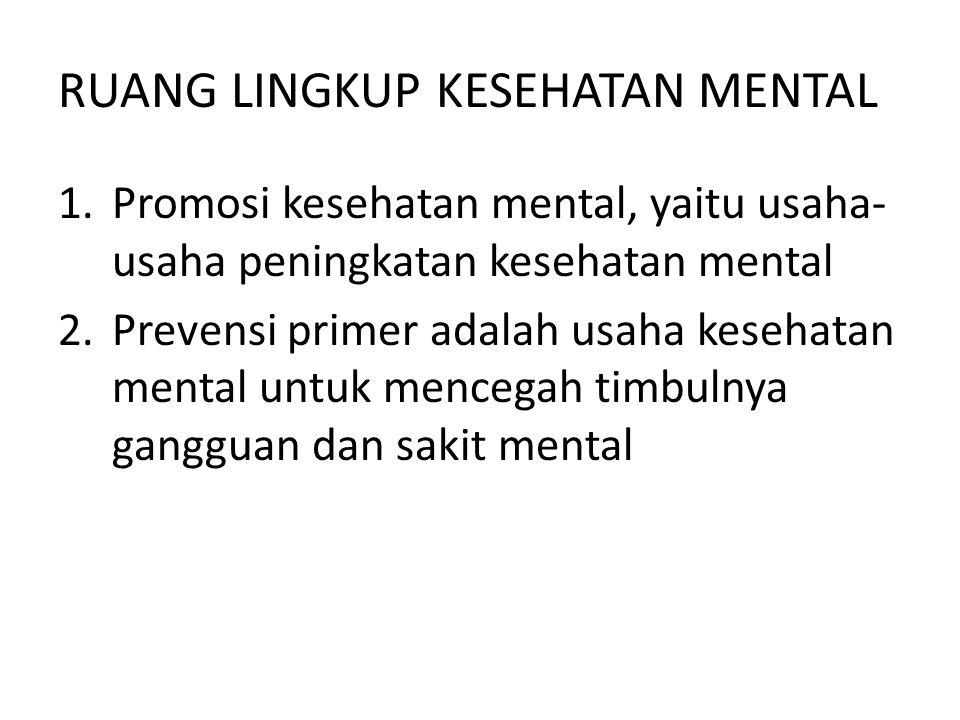 RUANG LINGKUP KESEHATAN MENTAL 1.Promosi kesehatan mental, yaitu usaha- usaha peningkatan kesehatan mental 2.Prevensi primer adalah usaha kesehatan me