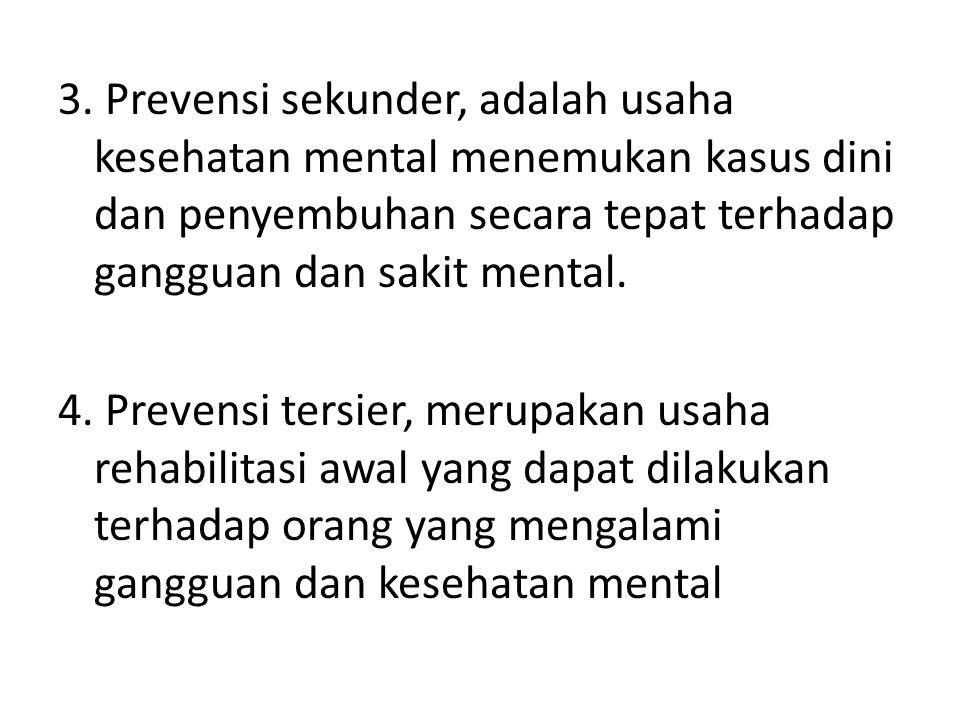 3. Prevensi sekunder, adalah usaha kesehatan mental menemukan kasus dini dan penyembuhan secara tepat terhadap gangguan dan sakit mental. 4. Prevensi