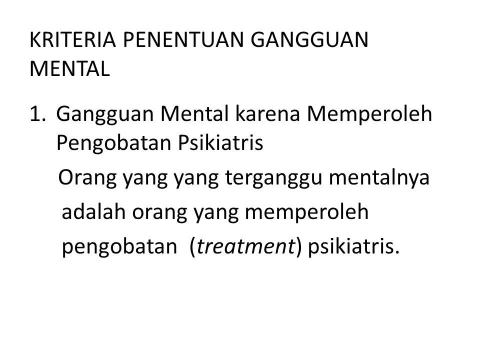KRITERIA PENENTUAN GANGGUAN MENTAL 1.Gangguan Mental karena Memperoleh Pengobatan Psikiatris Orang yang yang terganggu mentalnya adalah orang yang mem