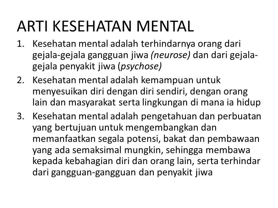 ARTI KESEHATAN MENTAL 1.Kesehatan mental adalah terhindarnya orang dari gejala-gejala gangguan jiwa (neurose) dan dari gejala- gejala penyakit jiwa (p