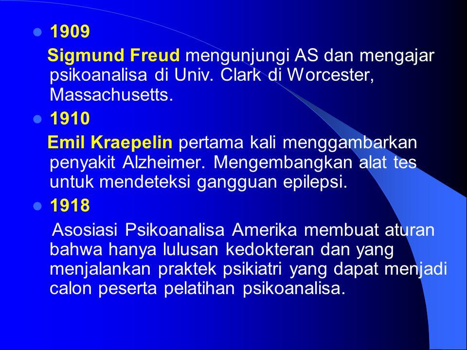 1909 Sigmund Freud mengunjungi AS dan mengajar psikoanalisa di Univ. Clark di Worcester, Massachusetts. 1910 Emil Kraepelin pertama kali menggambarkan