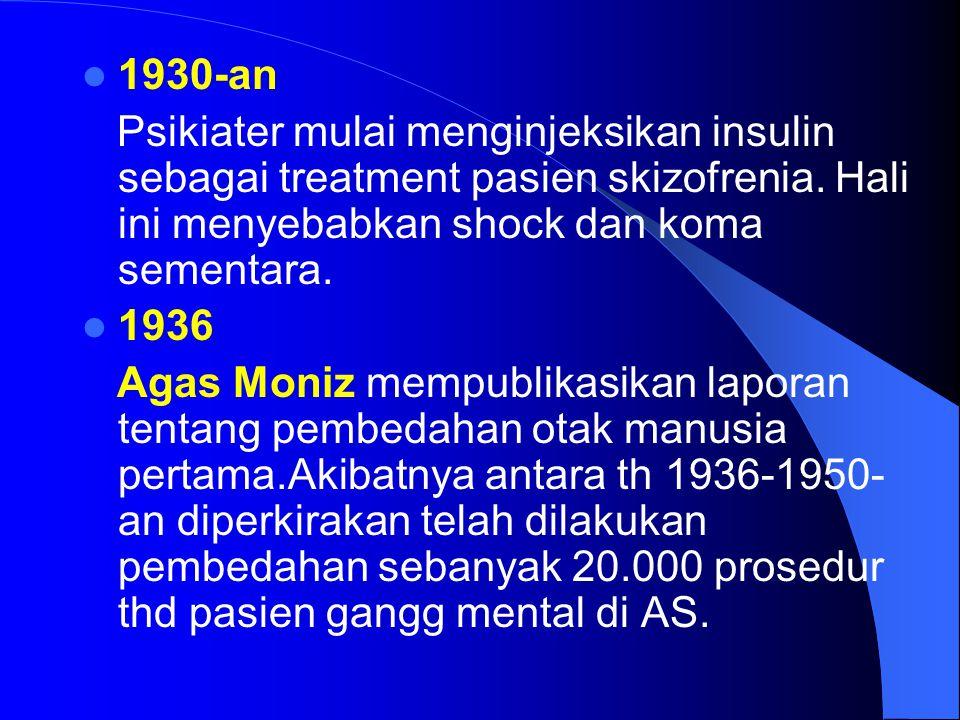 1930-an Psikiater mulai menginjeksikan insulin sebagai treatment pasien skizofrenia. Hali ini menyebabkan shock dan koma sementara. 1936 Agas Moniz me