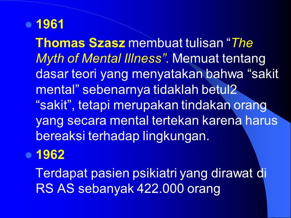 """1961 Thomas Szasz membuat tulisan """"The Myth of Mental Illness"""". Memuat tentang dasar teori yang menyatakan bahwa """"sakit mental"""" sebenarnya tidaklah be"""