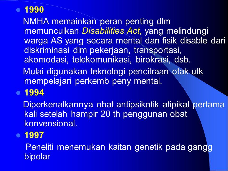 1990 NMHA memainkan peran penting dlm memunculkan Disabilities Act, yang melindungi warga AS yang secara mental dan fisik disable dari diskriminasi dlm pekerjaan, transportasi, akomodasi, telekomunikasi, birokrasi, dsb.