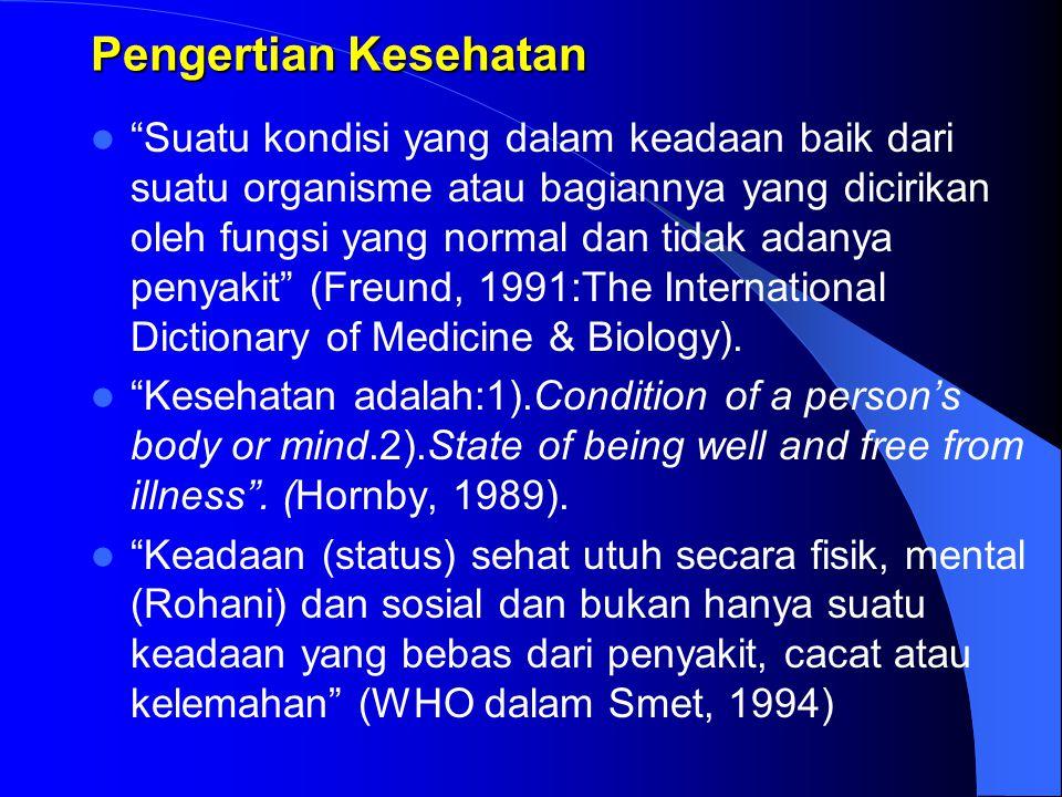 Pengertian Kesehatan Suatu kondisi yang dalam keadaan baik dari suatu organisme atau bagiannya yang dicirikan oleh fungsi yang normal dan tidak adanya penyakit (Freund, 1991:The International Dictionary of Medicine & Biology).