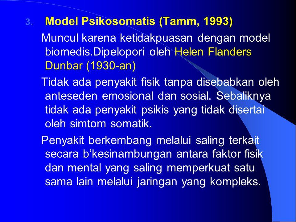 3. Model Psikosomatis (Tamm, 1993) Muncul karena ketidakpuasan dengan model biomedis.Dipelopori oleh Helen Flanders Dunbar (1930-an) Tidak ada penyaki