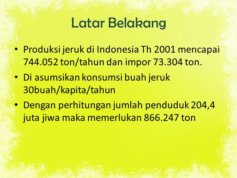 Produksi jeruk di Indonesia Th 2001 mencapai 744.052 ton/tahun dan impor 73.304 ton. Di asumsikan konsumsi buah jeruk 30buah/kapita/tahun Dengan perhi