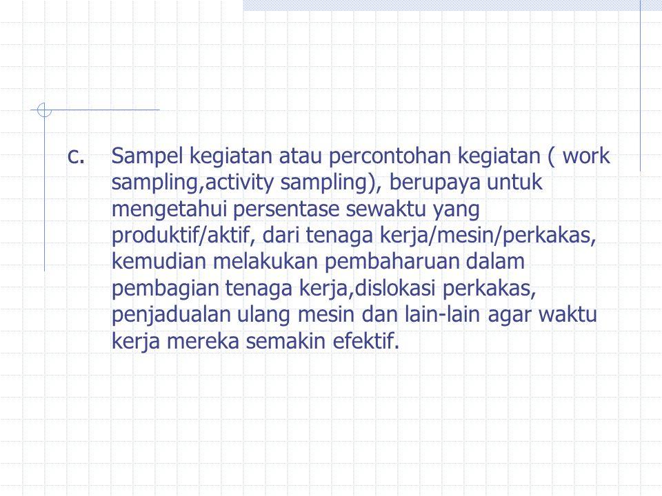c. Sampel kegiatan atau percontohan kegiatan ( work sampling,activity sampling), berupaya untuk mengetahui persentase sewaktu yang produktif/aktif, da