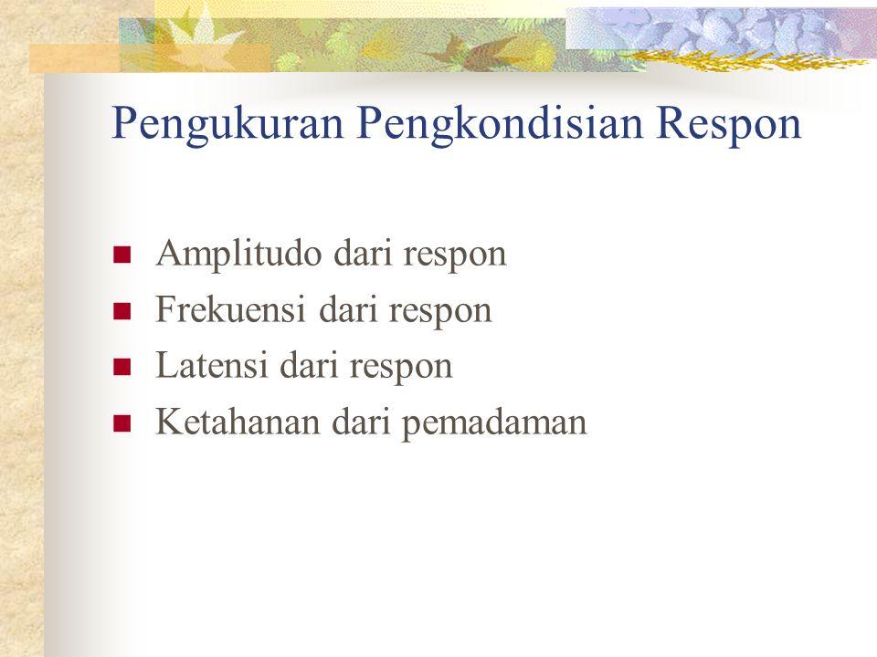 Pengukuran Pengkondisian Respon Amplitudo dari respon Frekuensi dari respon Latensi dari respon Ketahanan dari pemadaman