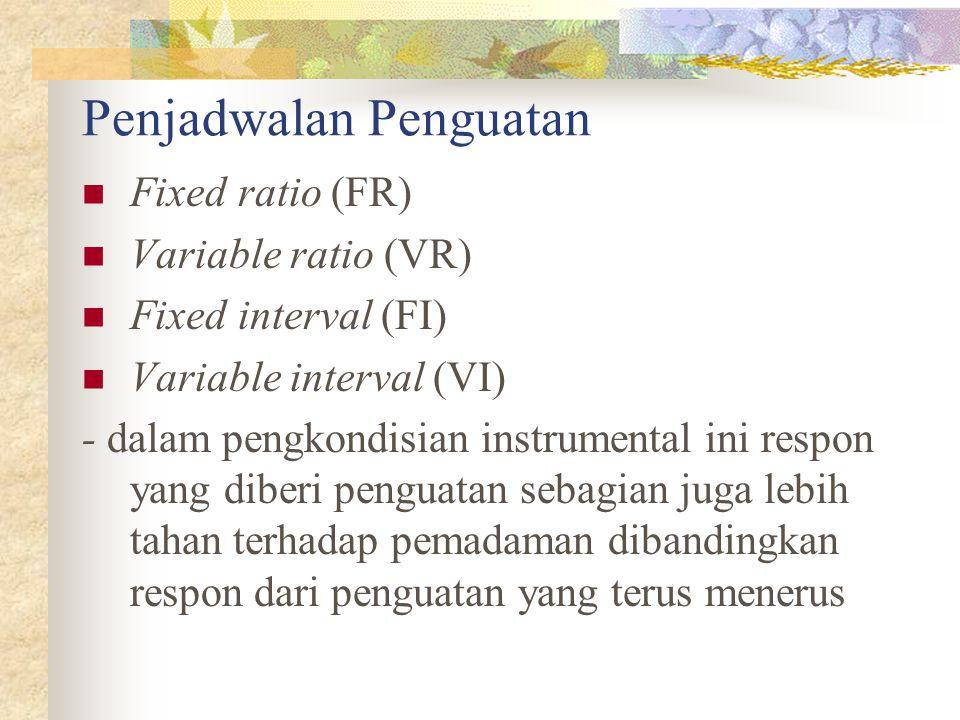 Penjadwalan Penguatan Fixed ratio (FR) Variable ratio (VR) Fixed interval (FI) Variable interval (VI) - dalam pengkondisian instrumental ini respon ya