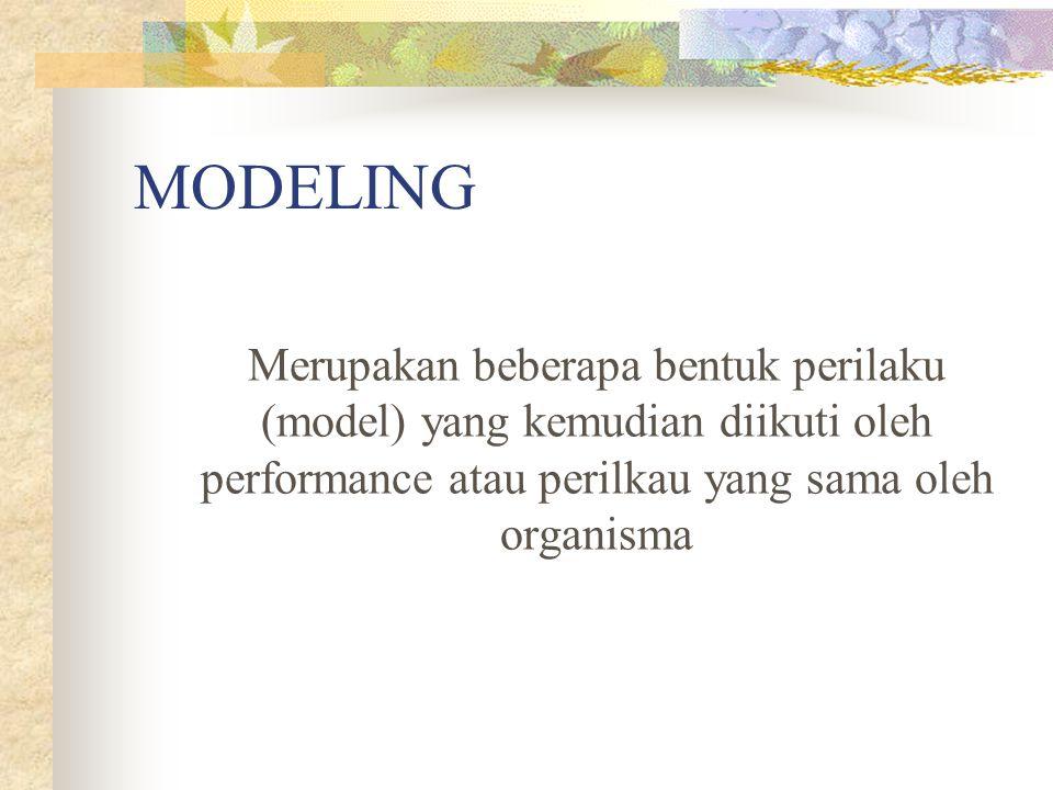 MODELING Merupakan beberapa bentuk perilaku (model) yang kemudian diikuti oleh performance atau perilkau yang sama oleh organisma