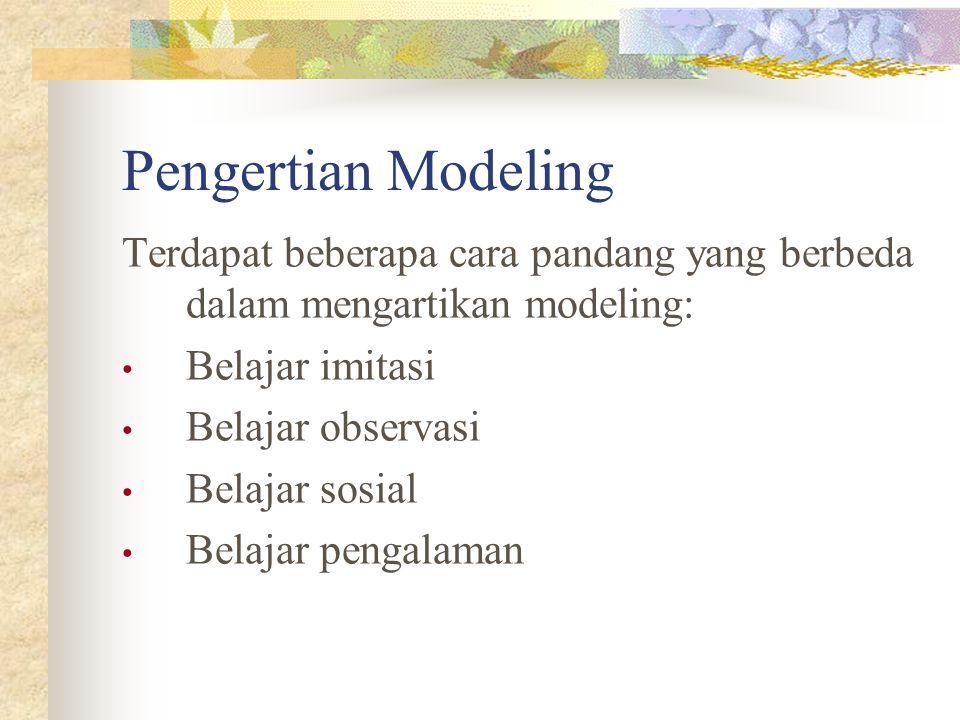 Pengertian Modeling Terdapat beberapa cara pandang yang berbeda dalam mengartikan modeling: Belajar imitasi Belajar observasi Belajar sosial Belajar p