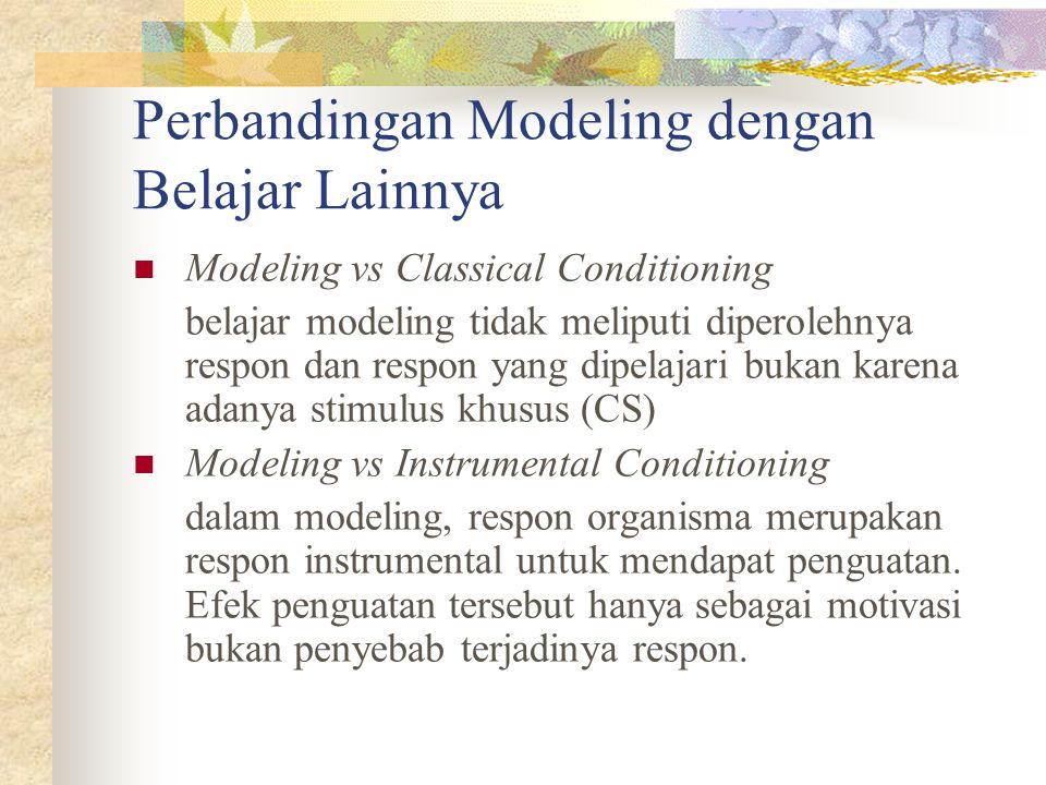 Penguatan dalam modeling Reinforcement by the model Self reinforcement