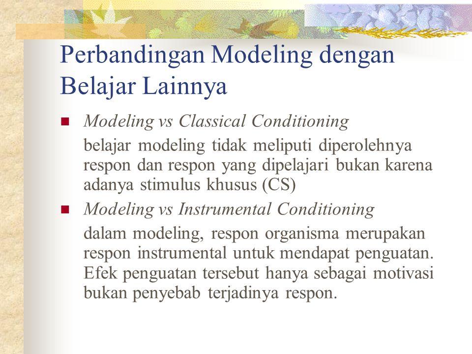 Perbandingan Modeling dengan Belajar Lainnya Modeling vs Classical Conditioning belajar modeling tidak meliputi diperolehnya respon dan respon yang di