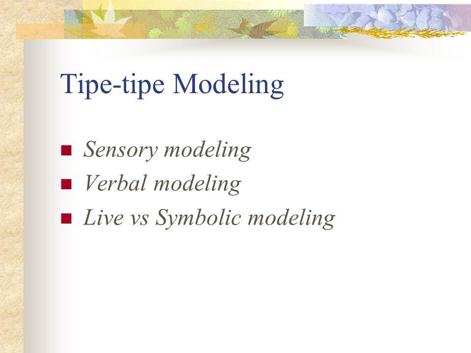 Tipe-tipe Modeling Sensory modeling Verbal modeling Live vs Symbolic modeling