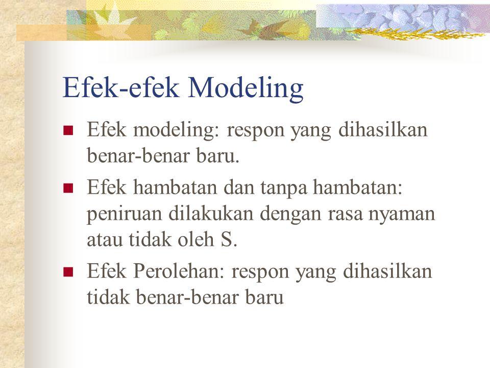 Efek-efek Modeling Efek modeling: respon yang dihasilkan benar-benar baru. Efek hambatan dan tanpa hambatan: peniruan dilakukan dengan rasa nyaman ata