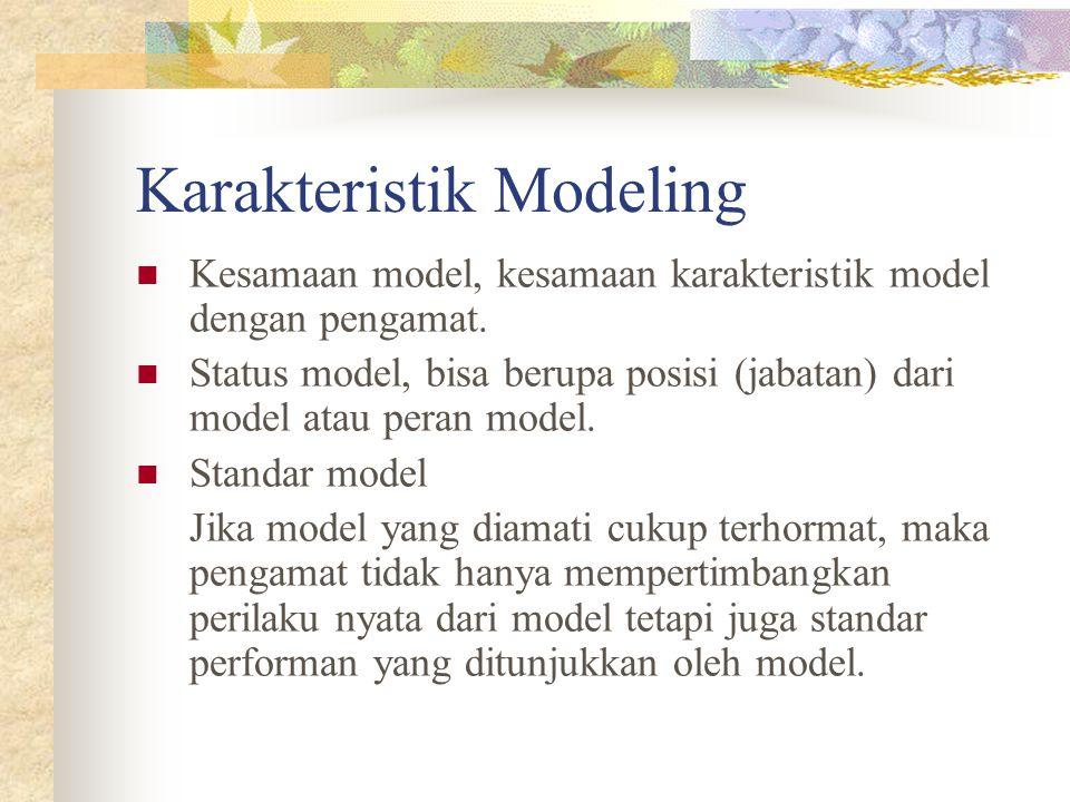 Karakteristik Modeling Kesamaan model, kesamaan karakteristik model dengan pengamat. Status model, bisa berupa posisi (jabatan) dari model atau peran
