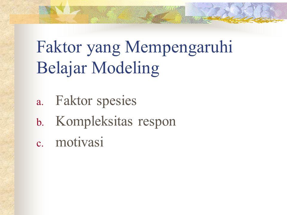 Faktor yang Mempengaruhi Belajar Modeling a. Faktor spesies b. Kompleksitas respon c. motivasi