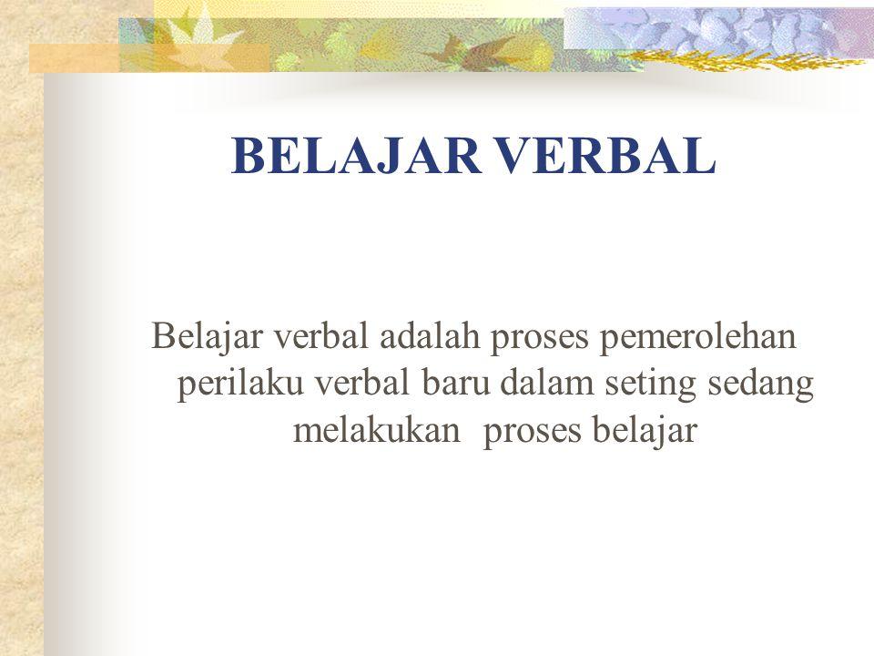 BELAJAR VERBAL Belajar verbal adalah proses pemerolehan perilaku verbal baru dalam seting sedang melakukan proses belajar