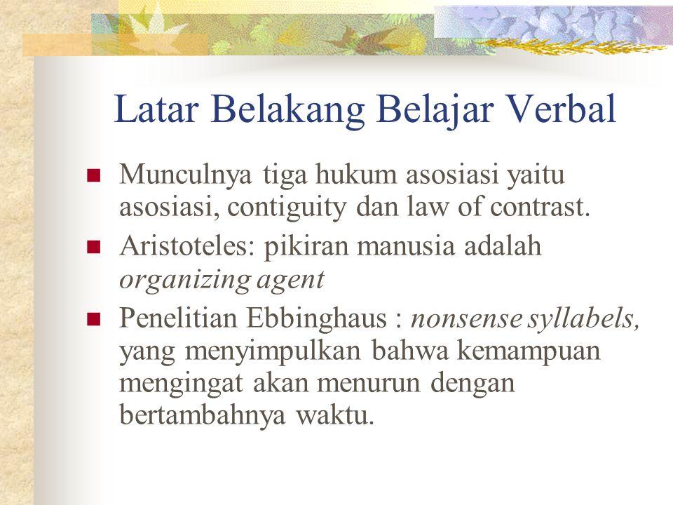 Latar Belakang Belajar Verbal Munculnya tiga hukum asosiasi yaitu asosiasi, contiguity dan law of contrast. Aristoteles: pikiran manusia adalah organi