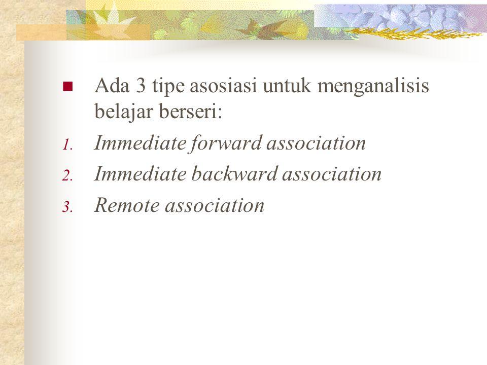 Ada 3 tipe asosiasi untuk menganalisis belajar berseri: 1. Immediate forward association 2. Immediate backward association 3. Remote association