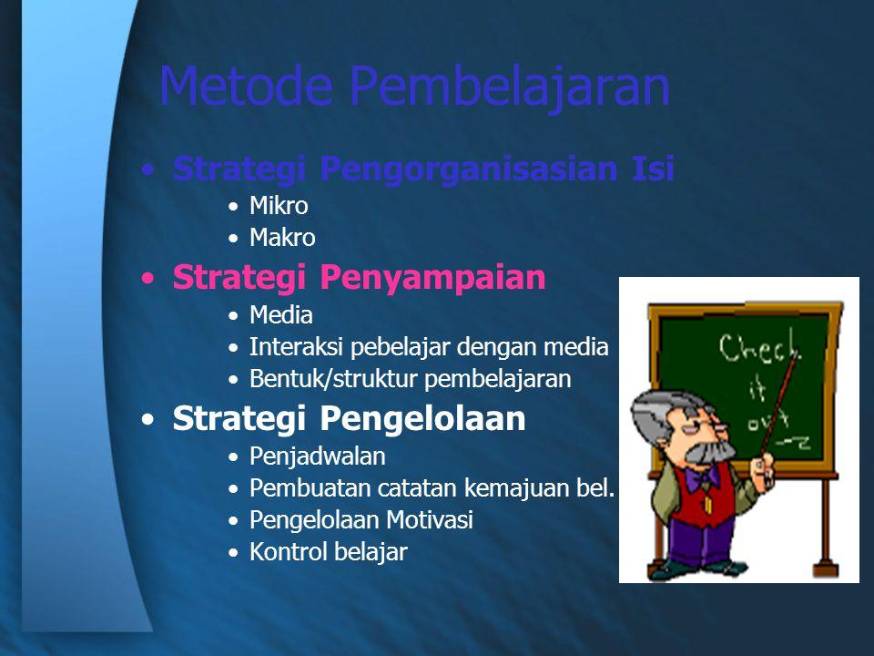 Metode Pembelajaran Strategi Pengorganisasian Isi Mikro Makro Strategi Penyampaian Media Interaksi pebelajar dengan media Bentuk/struktur pembelajaran Strategi Pengelolaan Penjadwalan Pembuatan catatan kemajuan bel.