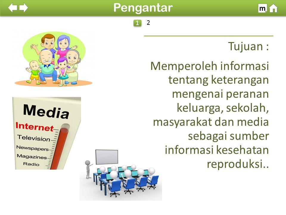 100% Tujuan : Memperoleh informasi tentang keterangan mengenai peranan keluarga, sekolah, masyarakat dan media sebagai sumber informasi kesehatan reproduksi..