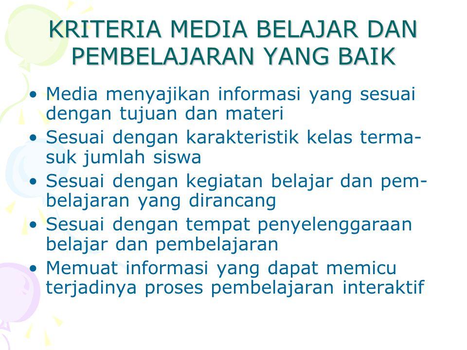 KRITERIA MEDIA BELAJAR DAN PEMBELAJARAN YANG BAIK Media menyajikan informasi yang sesuai dengan tujuan dan materi Sesuai dengan karakteristik kelas te