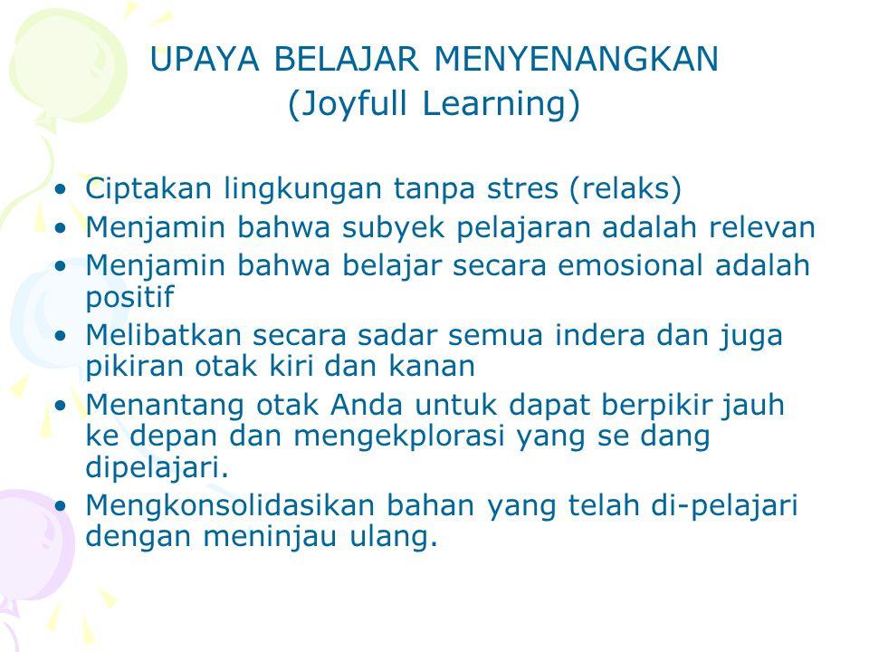 UPAYA BELAJAR MENYENANGKAN (Joyfull Learning) Ciptakan lingkungan tanpa stres (relaks) Menjamin bahwa subyek pelajaran adalah relevan Menjamin bahwa b