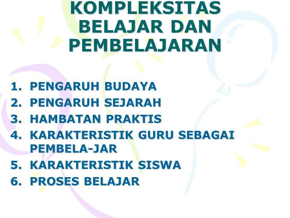 KOMPLEKSITAS BELAJAR DAN PEMBELAJARAN 1.P ENGARUH BUDAYA 2.P ENGARUH SEJARAH 3.H AMBATAN PRAKTIS 4.K ARAKTERISTIK GURU SEBAGAI PEMBELA-JAR 5.K ARAKTER