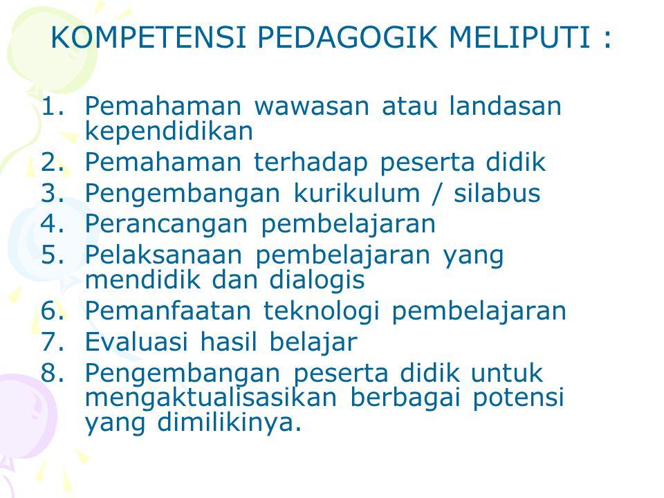 KOMPETENSI PEDAGOGIK MELIPUTI : 1.Pemahaman wawasan atau landasan kependidikan 2.Pemahaman terhadap peserta didik 3.Pengembangan kurikulum / silabus 4
