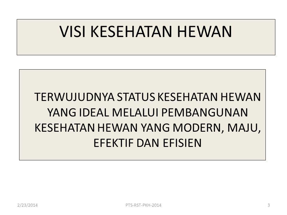 VISI KESEHATAN HEWAN TERWUJUDNYA STATUS KESEHATAN HEWAN YANG IDEAL MELALUI PEMBANGUNAN KESEHATAN HEWAN YANG MODERN, MAJU, EFEKTIF DAN EFISIEN 2/23/20143PTS-RST-PKH-2014
