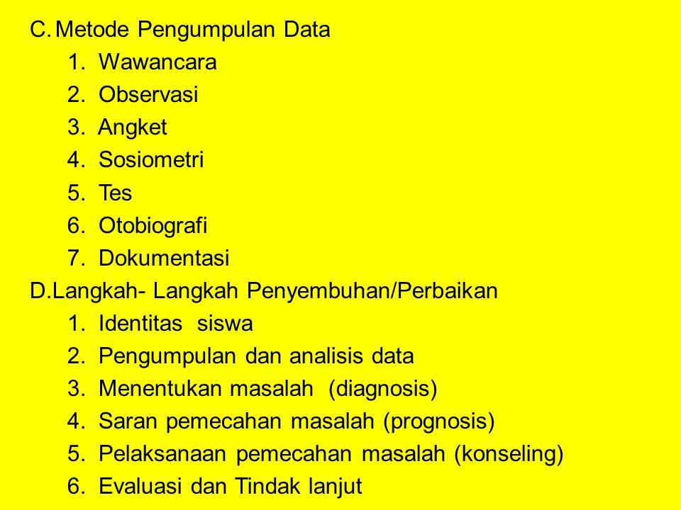 C.Metode Pengumpulan Data 1.Wawancara 2. Observasi 3.
