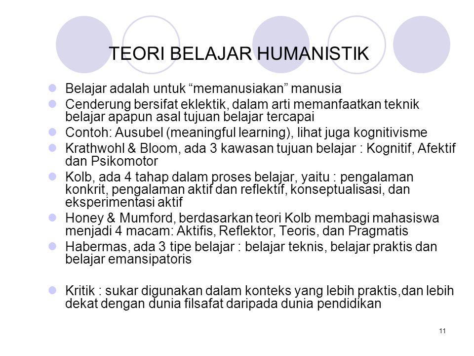 """11 TEORI BELAJAR HUMANISTIK Belajar adalah untuk """"memanusiakan"""" manusia Cenderung bersifat eklektik, dalam arti memanfaatkan teknik belajar apapun asa"""