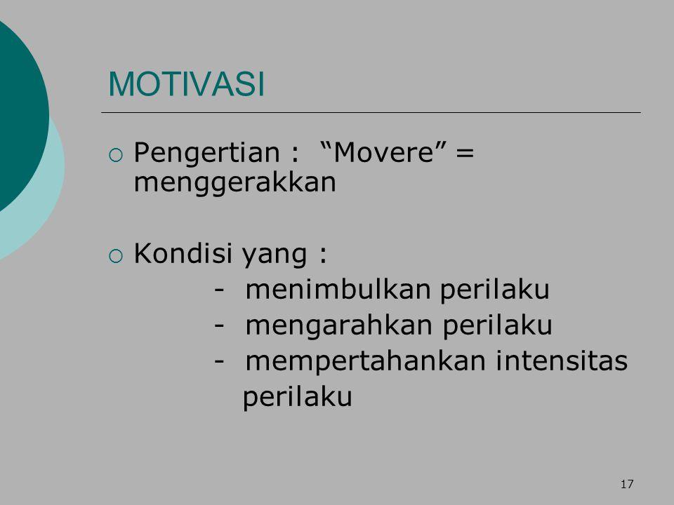 """17 MOTIVASI  Pengertian : """"Movere"""" = menggerakkan  Kondisi yang : - menimbulkan perilaku - mengarahkan perilaku - mempertahankan intensitas perilaku"""