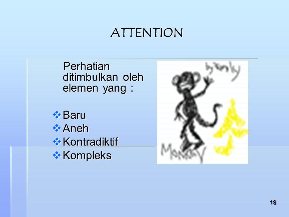 19 ATTENTION Perhatian ditimbulkan oleh elemen yang : Perhatian ditimbulkan oleh elemen yang :  Baru  Aneh  Kontradiktif  Kompleks