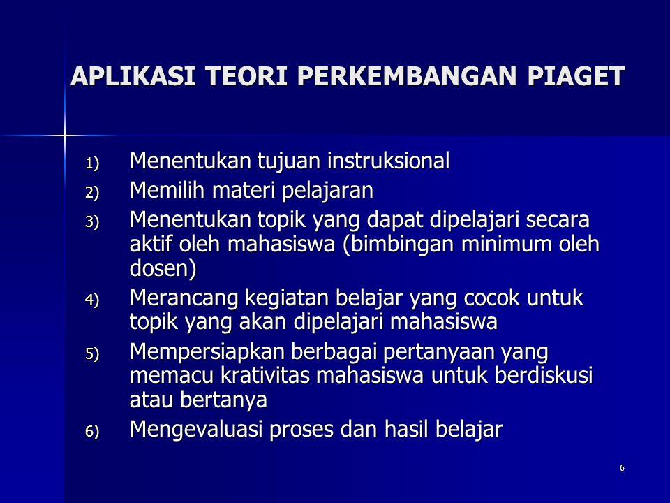 6 APLIKASI TEORI PERKEMBANGAN PIAGET 1) Menentukan tujuan instruksional 2) Memilih materi pelajaran 3) Menentukan topik yang dapat dipelajari secara a