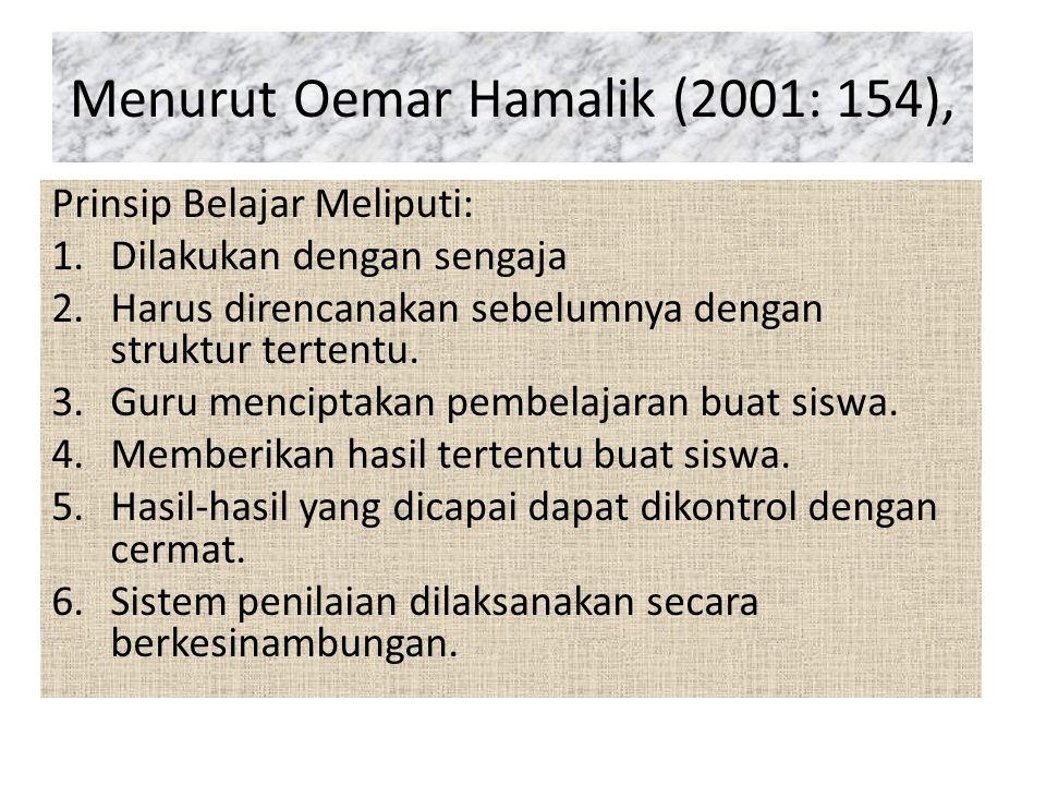 Menurut Oemar Hamalik (2001: 154), Prinsip Belajar Meliputi: 1.Dilakukan dengan sengaja 2.Harus direncanakan sebelumnya dengan struktur tertentu.