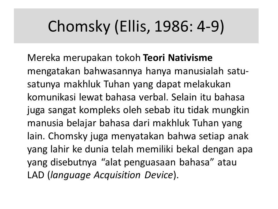 Chomsky (Ellis, 1986: 4-9) Mereka merupakan tokoh Teori Nativisme mengatakan bahwasannya hanya manusialah satu- satunya makhluk Tuhan yang dapat melakukan komunikasi lewat bahasa verbal.