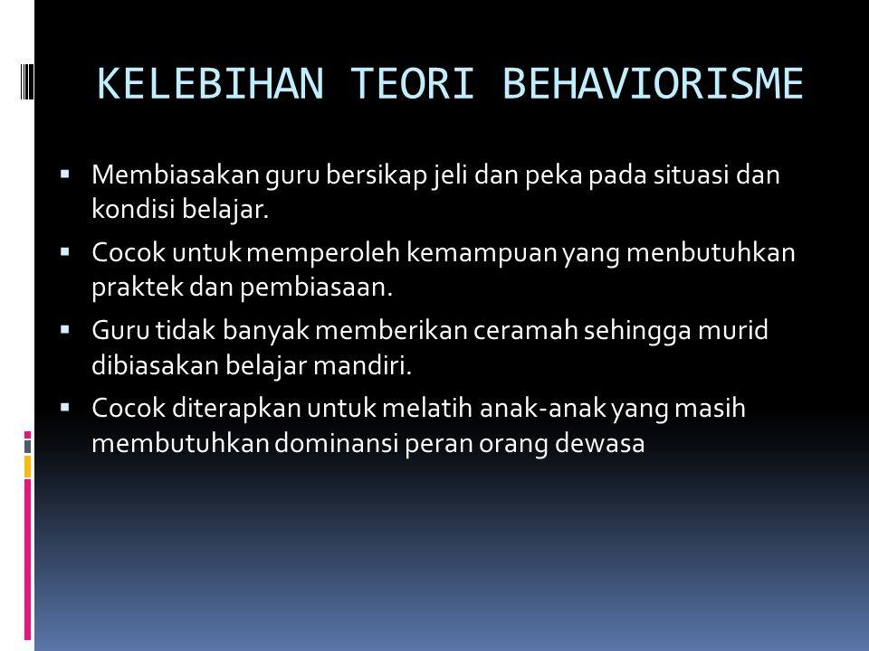 KELEBIHAN TEORI BEHAVIORISME  Membiasakan guru bersikap jeli dan peka pada situasi dan kondisi belajar.