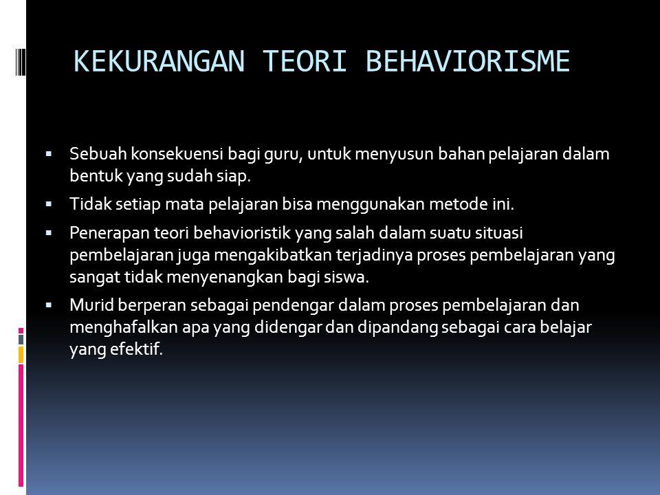 KEKURANGAN TEORI BEHAVIORISME  Sebuah konsekuensi bagi guru, untuk menyusun bahan pelajaran dalam bentuk yang sudah siap.